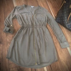 Guess Army Green Dress with Gold Zipper Size XS